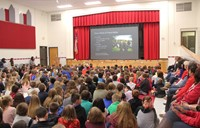 wide shot of veterans day assembly at chenango bridge