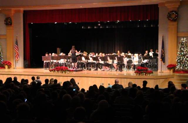 wide shot of sixth grade band performing