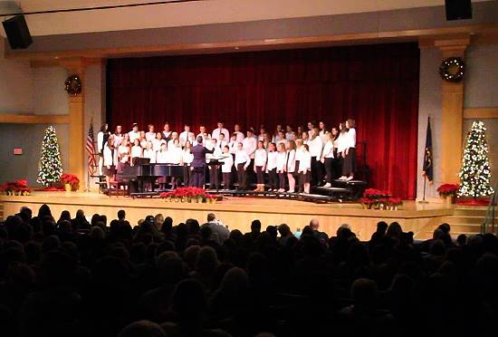 wide shot of seventh and eighth grade chorus on stage