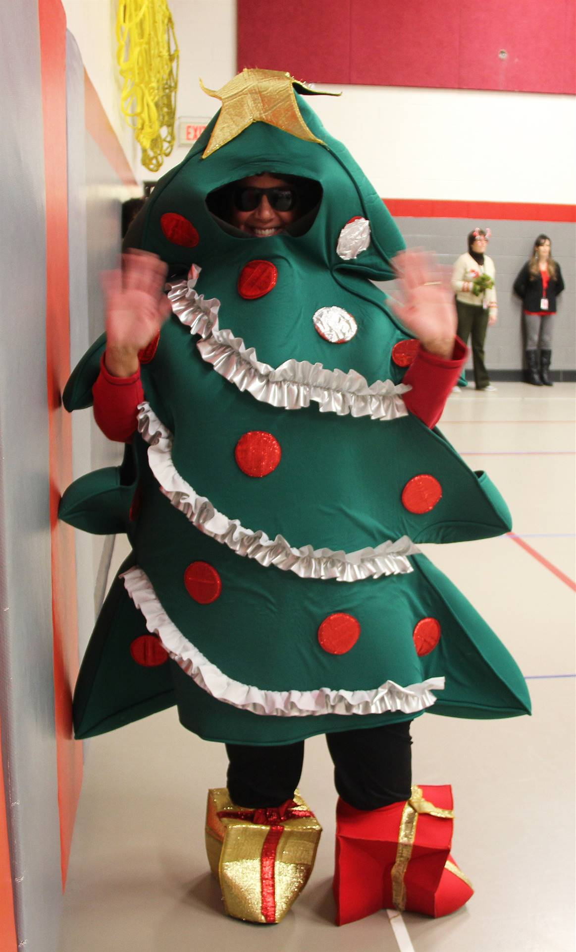 principal dressed as tree