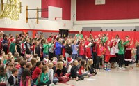 students dancing at holiday sing along