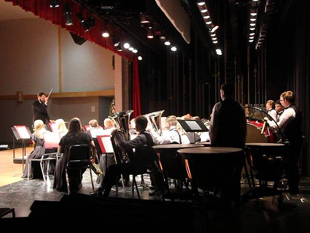 students playing instruments from back stage