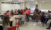 wide shot of students in leadership activity