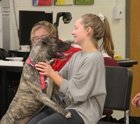 dog and student