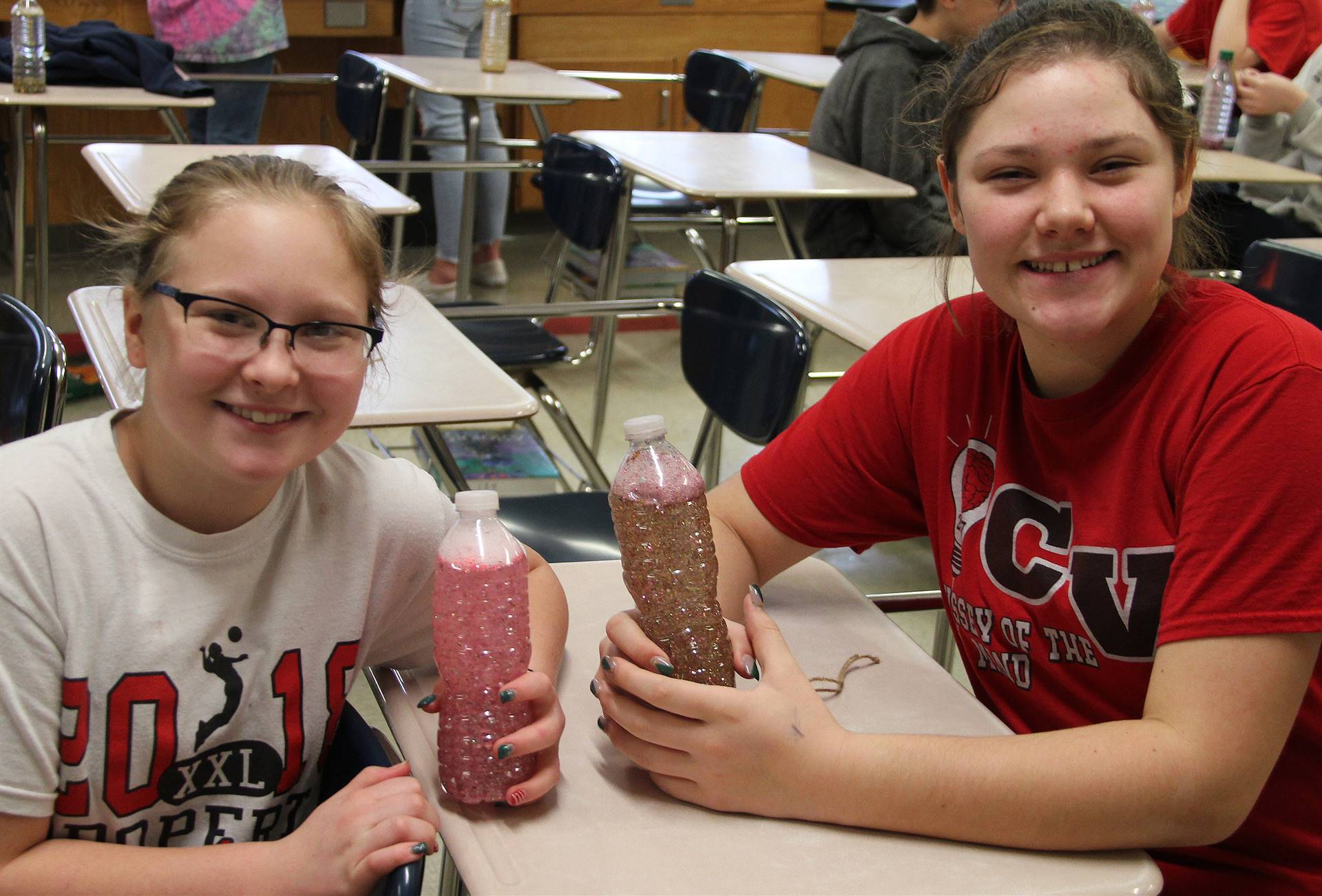 students with mindfulness bottles