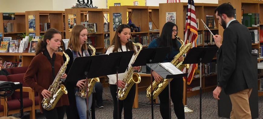 CV Saxophone Ensemble Performing at Board of Education Meeting