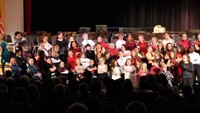 wide shot of students performing at winter concert