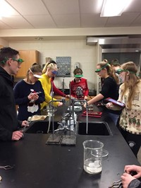 wide shot of students working in chemistry lab