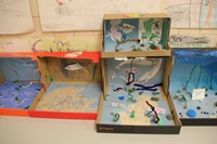 completed ocean habitat shoe boxes on table