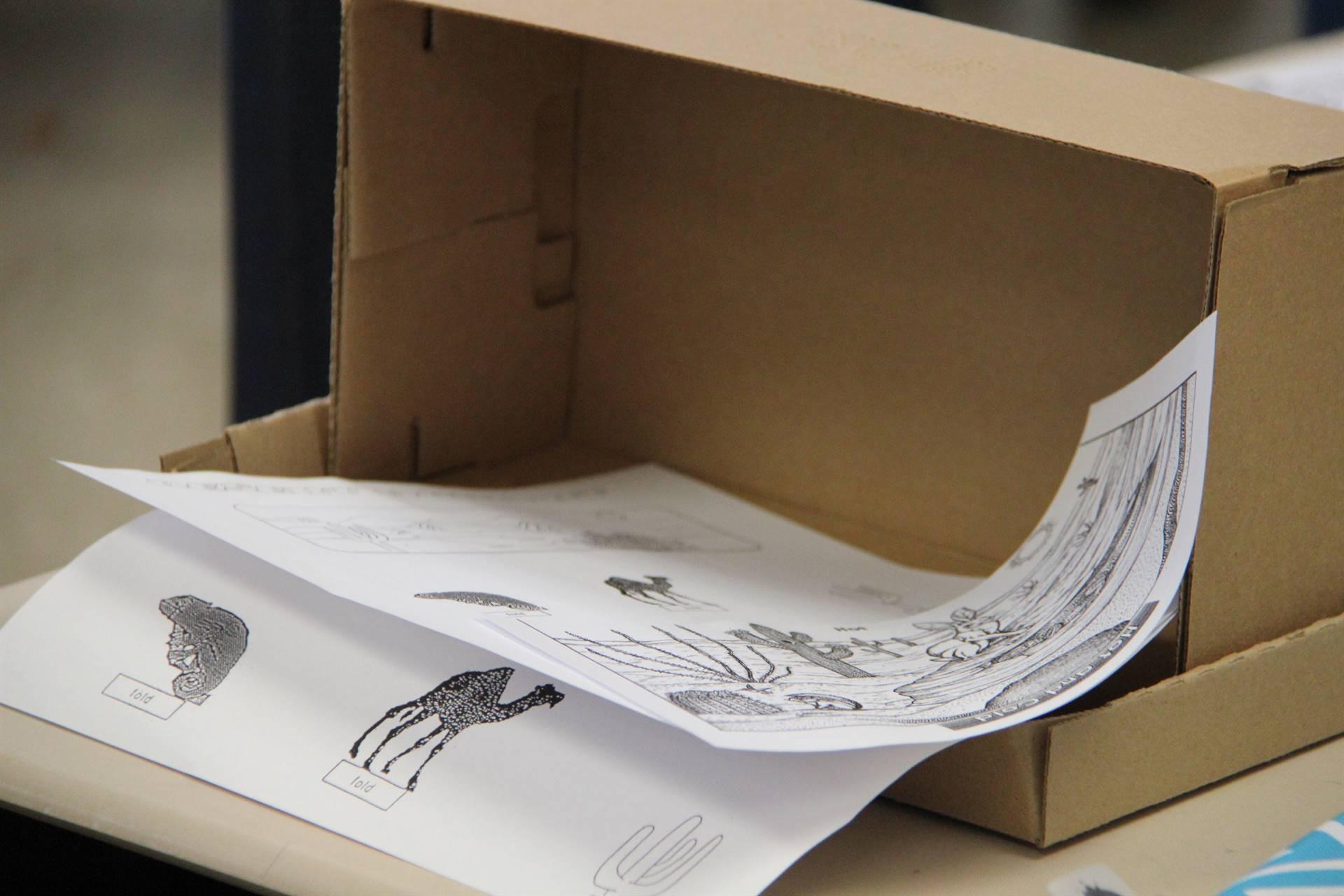 paper in shoebox