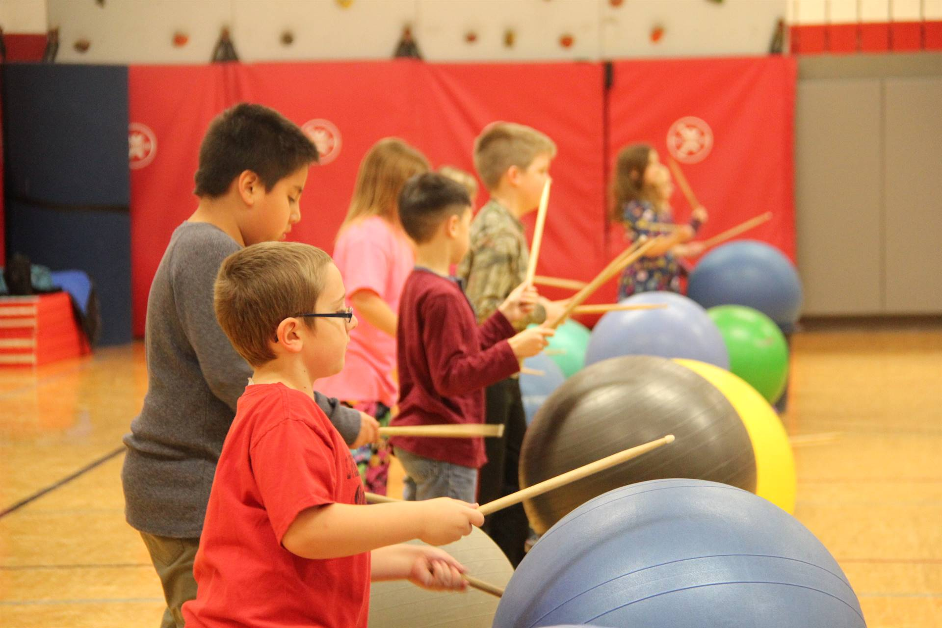 line of students participating in drums alive activity