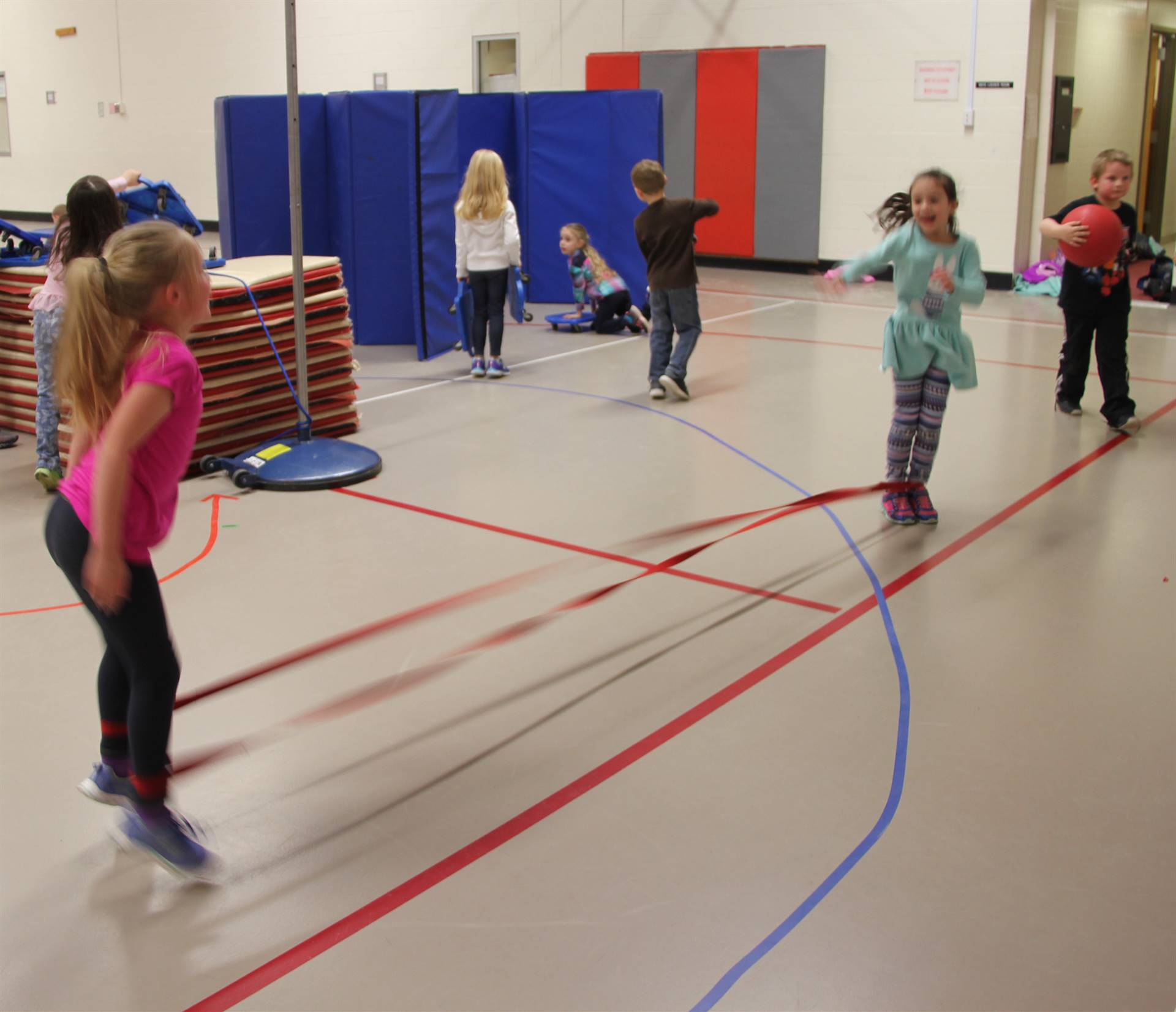 students participating in physical education heart unit 18
