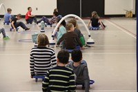 students participating in physical education heart unit 6