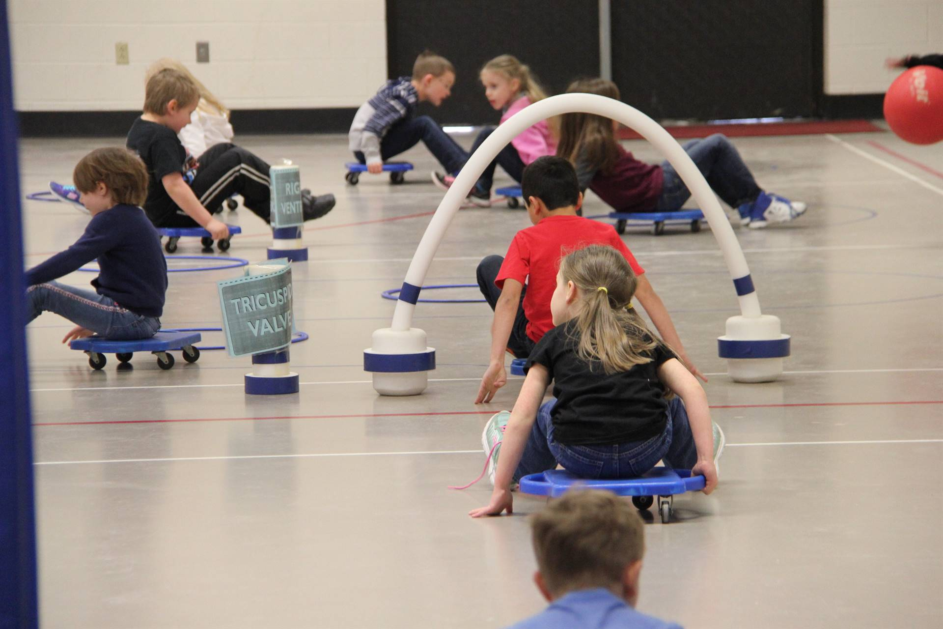 students participating in physical education heart unit 4