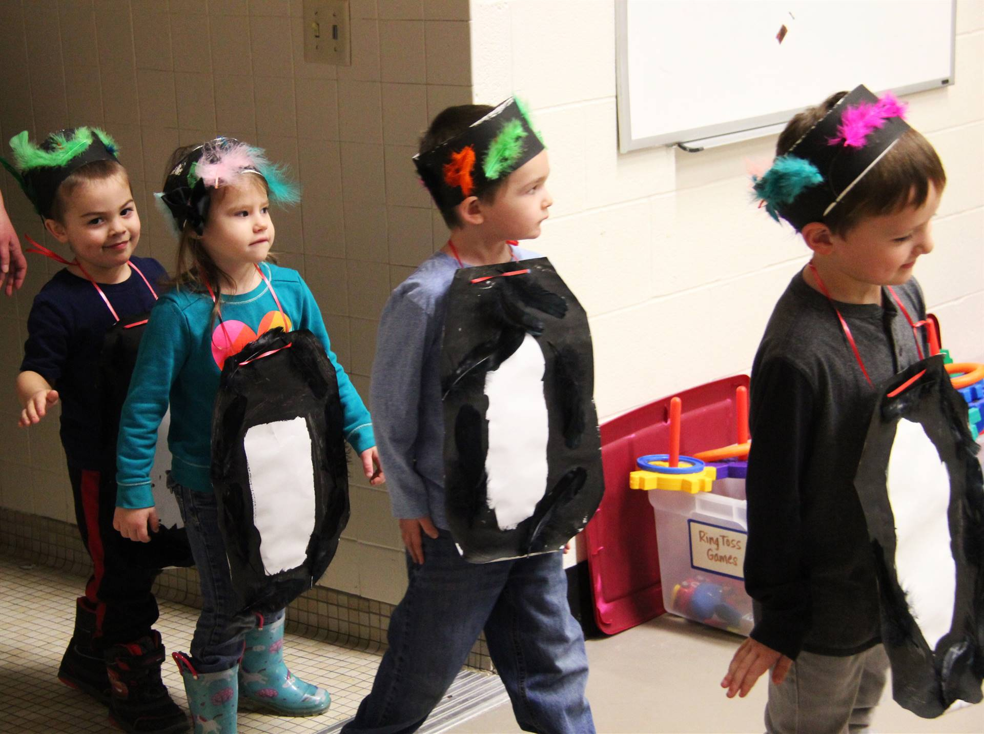 students dressed as penguins