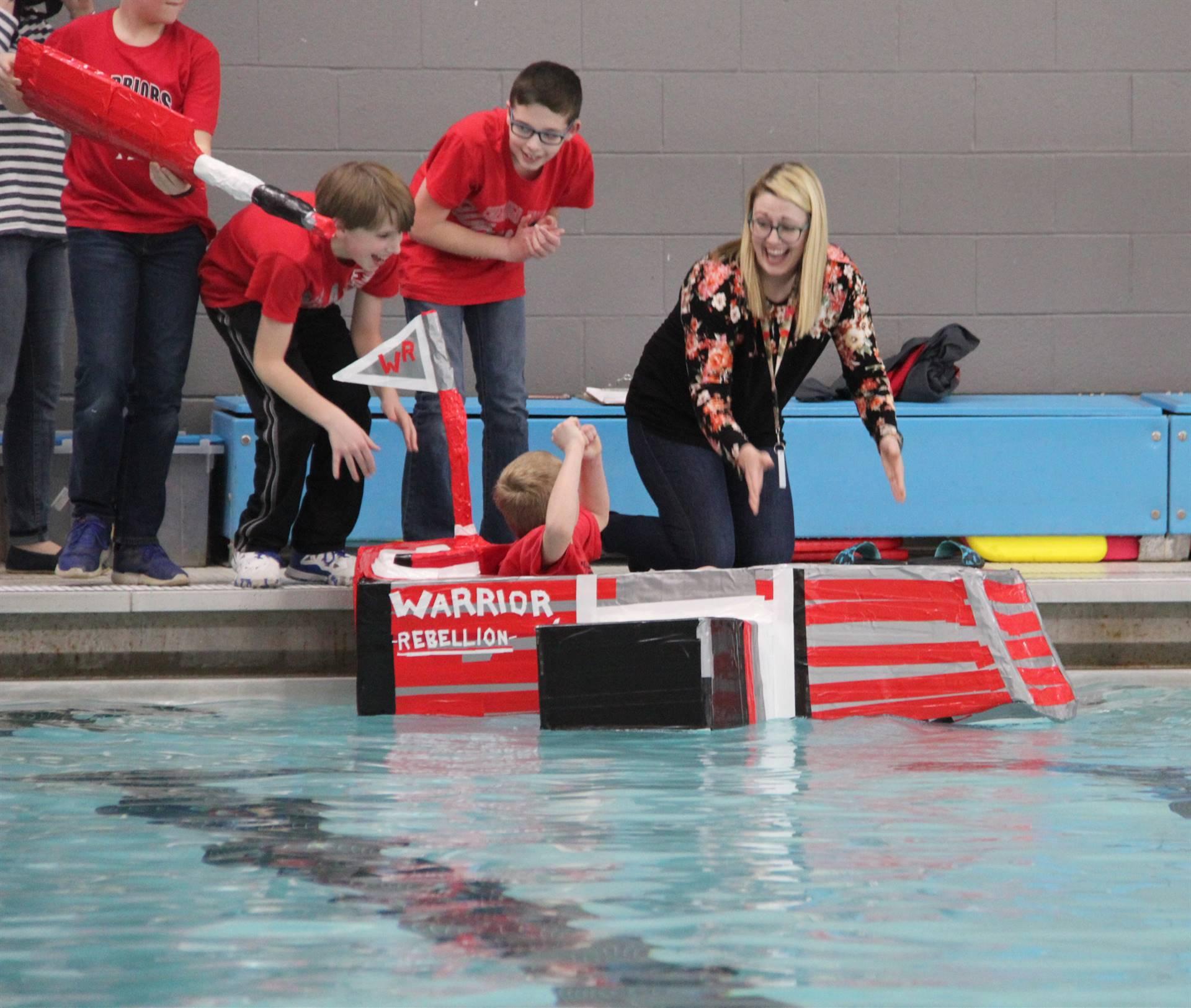 Middle School Cardboard Boat Races 28