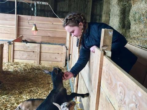 student petting goat