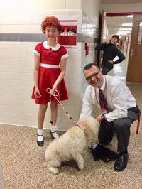 mister attleson with annie and dog