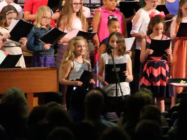 two students singing