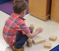 student building with blocks
