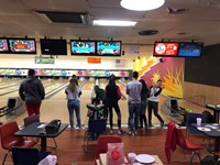 Chenango Valley French Exchange students at bowling alley