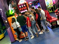 Chenango Valley French Exchange students at arcade