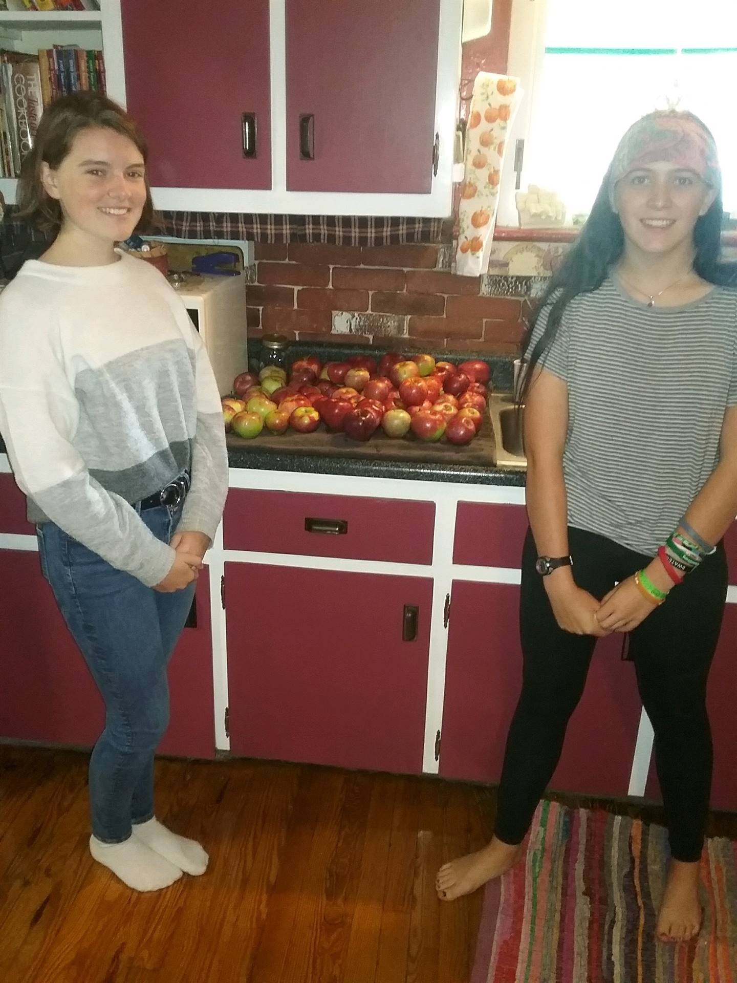 Chenango Valley French Exchange students standing next to apples