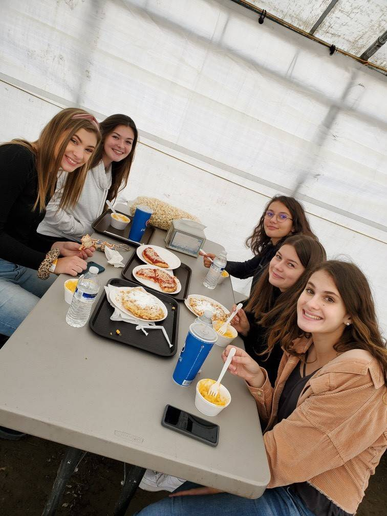 Chenango Valley French Exchange students eating