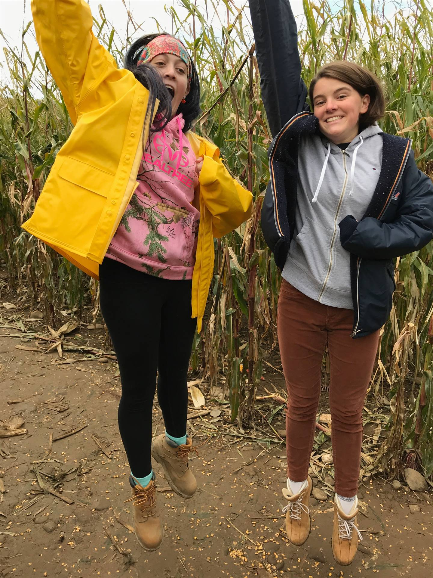 students jumping in corn maze
