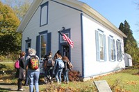 students entering chenango school house museum