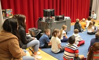 french students observing elementary music class