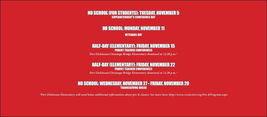 no school and half days in November