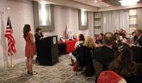 maureen pratt roberts giving speech