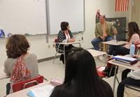 honoree maureen pratt roberts speaking to class