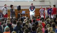 honoree maureen pratt roberts speaking at chenango bridge elementary event