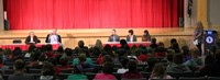 honorees speaking at middle school event