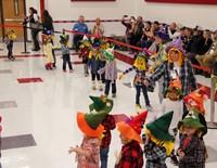 wide shot of pre k halloween parade