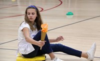 middle school student taking part in halloween activity