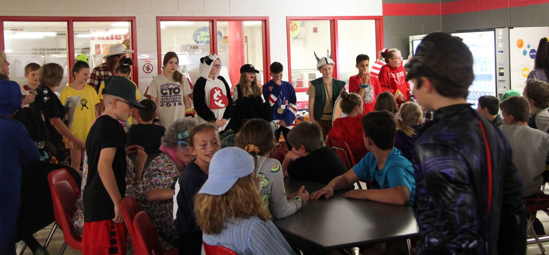 middle school students taking part in halloween activity