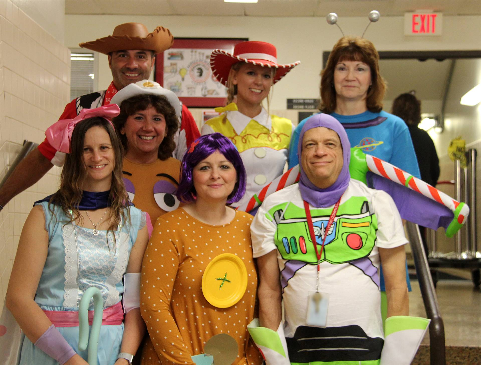 port dickinson faculty and staff members dressed in toy story costumes