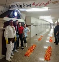 high school teachers dressed in costumes