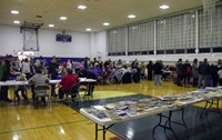 wide shot of gym for humanities night