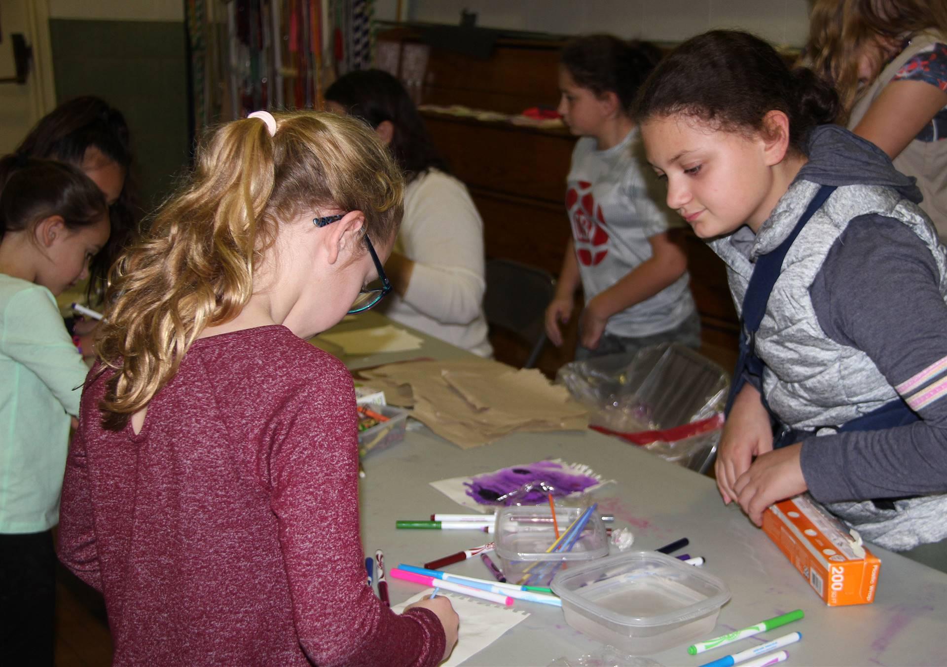students at activity station