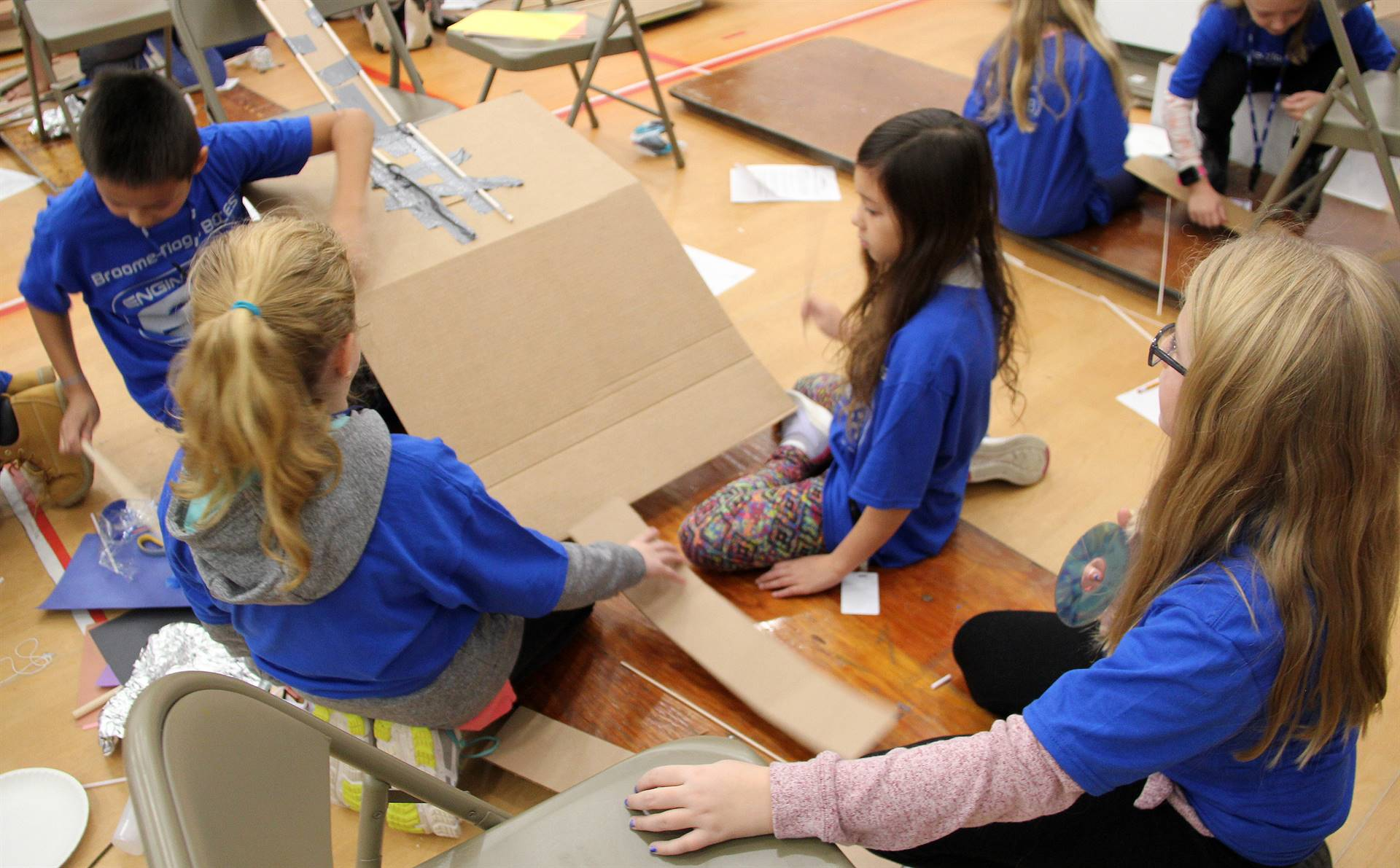 chenango bridge elementary students taking part in engineering day activities