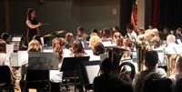 medium shot of sixth grade band students performing