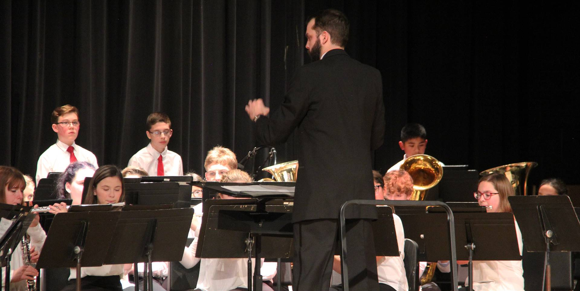 seventh and eighth grade band performing