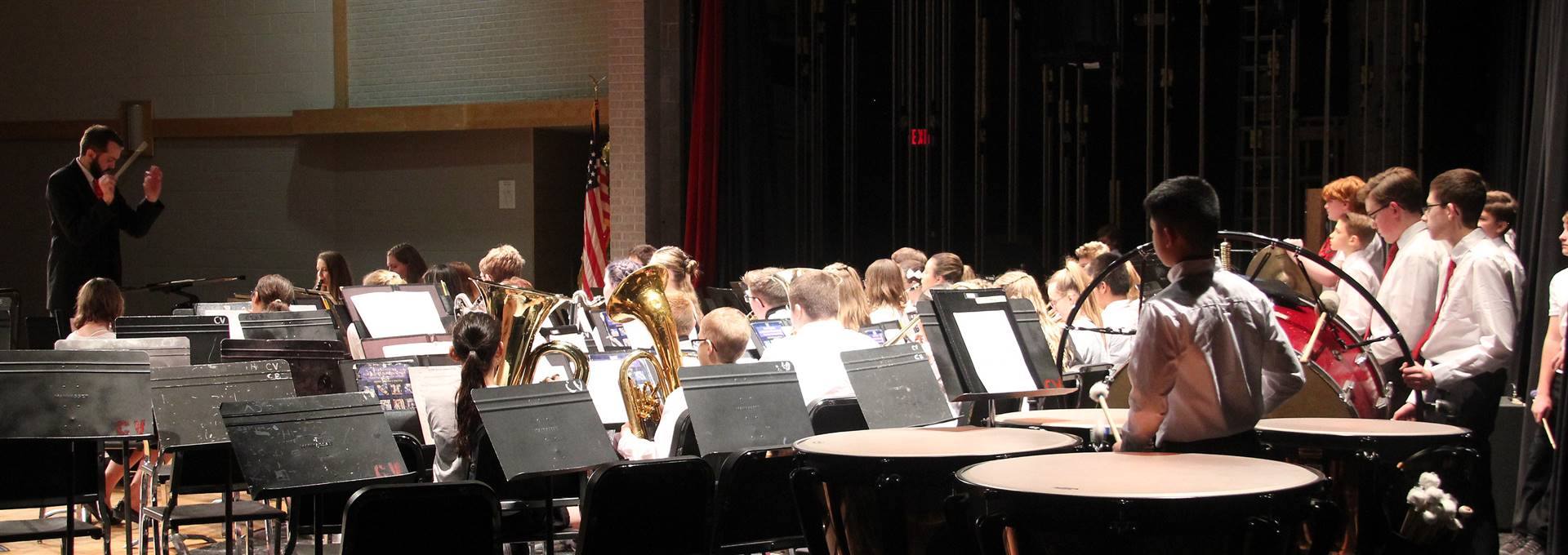 seventh and eighth grade band members performing