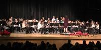wide shot of sixth grade band students performing
