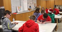 students taking part in art project