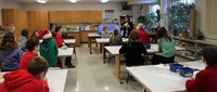 wide shot of students taking part in art project